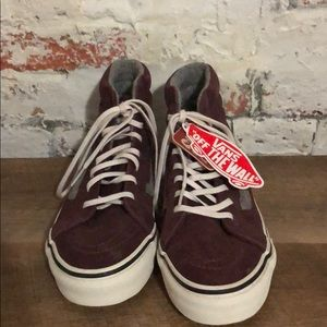 Vans Shoes - Burgundy vans with grey stripe, new with tags
